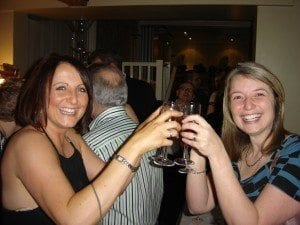 Party goers with Kir Royales - Christmas at the Angel Hotel